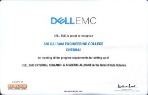 CENTRE FOR DATA ANALYTICS (DELL EMC) - Sri Sairam Engineering College